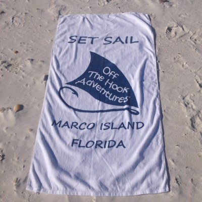 white Marco Island sail shell towel