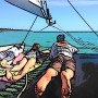 Family Fun on a Catamaran cartoon